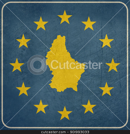 Grunge Luxembourg European button stock photo, Grunge Luxembourg map on blue and starry European button isolated on white background with copy space.  by Martin Crowdy