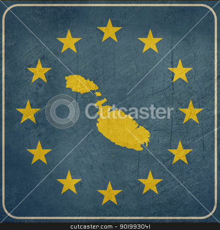 Grunge Malta European button stock photo, Grunge Malta map on blue and starry European button isolated on white background with copy space.  by Martin Crowdy
