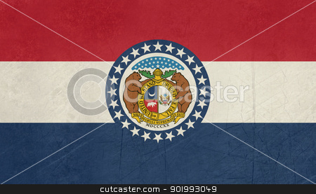 Grunge Missouri state flag stock photo, Grunge Missouri state flag of America, isolated on white background. by Martin Crowdy