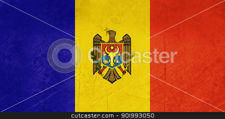 Grunge Moldova Flag stock photo, Grunge sovereign state flag of country of Moldova in official colors. by Martin Crowdy