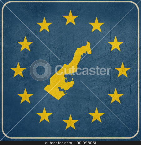 Grunge Monaco European button stock photo, Grunge Monaco map on blue and starry European button isolated on white background with copy space.  by Martin Crowdy