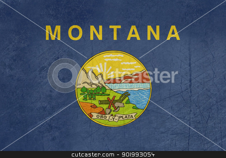 Grunge Montana State flag stock photo, Grunge illustration of Montana state flag, United States of America. by Martin Crowdy