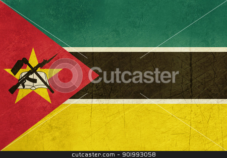 Grunge Mozambique flag stock photo, Grunge sovereign state flag of country of Mozambique in official colors. by Martin Crowdy