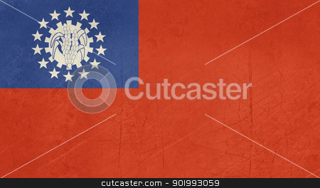 Grunge Myanmar flag stock photo, Grunge sovereign state flag of country of Myanmar in official colors. by Martin Crowdy
