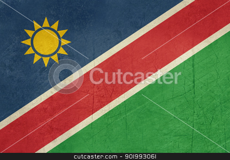 Grunge Namibia Flag stock photo, Grunge sovereign state flag of country of Namibia in official colors. by Martin Crowdy