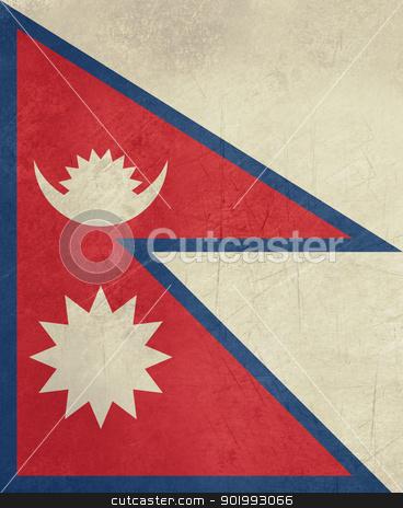 Grunge Nepal Flag stock photo, Grunge sovereign state flag of country of Nepal in official colors. by Martin Crowdy