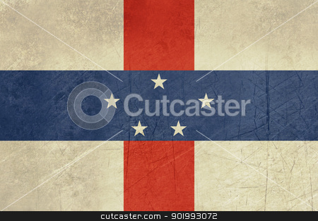 Grunge Netherlands Antilles stock photo, Grunge sovereign state flag of dependent country of Netherlands Antilles in official colors.  by Martin Crowdy