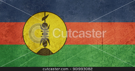 Grunge New Caledonia Flag stock photo, Grunge sovereign state flag of dependent country of New Caledonia in official colors.  by Martin Crowdy