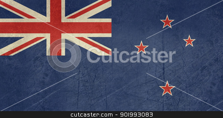 Grunge New Zealand flag stock photo, Grunge sovereign state flag of country of New Zealand in official colors. by Martin Crowdy