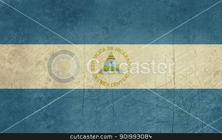 Grunge Nicaragua Flag stock photo, Grunge sovereign state flag of country of Nicaragua in official colors. by Martin Crowdy