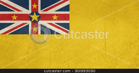 Grunge Niue Flag stock photo, Grunge sovereign state flag of dependent country of Niue in official colors.  by Martin Crowdy