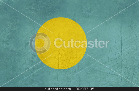 Grunge Palau Flag stock photo, Grunge sovereign state flag of country of Palau in official colors. by Martin Crowdy