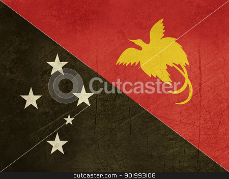 Grunge Papua New Guinea flag stock photo, Grunge sovereign state flag of country of Papua New Guinea in official colors. by Martin Crowdy