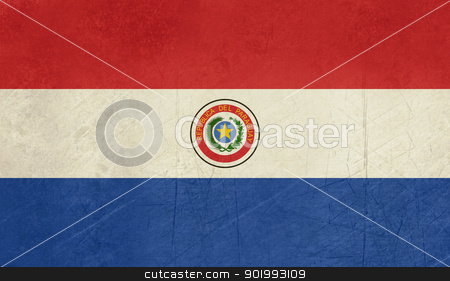 Grunge Paraguay Flag stock photo, Grunge sovereign state flag of country of Paraguay in official colors. by Martin Crowdy