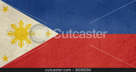 Grunge Philippines Flag stock photo, Grunge sovereign state flag of country of Philippines in official colors. by Martin Crowdy