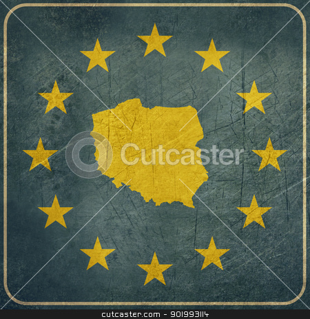 Grunge Poland road sign stock photo, Grunge Poland European button isolated on white background with copy space.  by Martin Crowdy