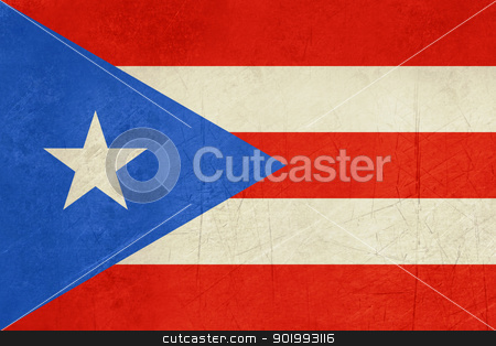 Grunge Puerto Rico flag stock photo, Grunfe sSovereign state flag of dependent country of Puerto Rico in official colors.  by Martin Crowdy