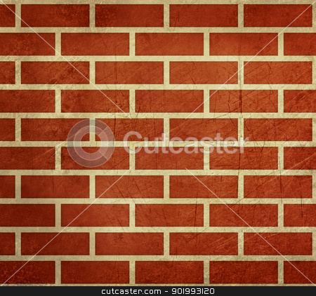 Grunge red brick wall background stock photo, Grunge abstract background of dark red bricks; isolated on white background. by Martin Crowdy