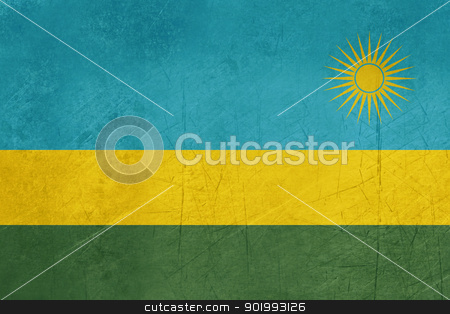 Grunge Rwanda Flag stock photo, Grunge sovereign state flag of country of Rwanda in official colors. by Martin Crowdy
