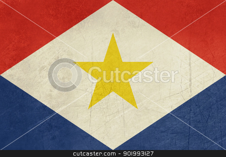 Grunge Saba Flag stock photo, Grunge sovereign state flag of dependent country of Saba in official colors.  by Martin Crowdy