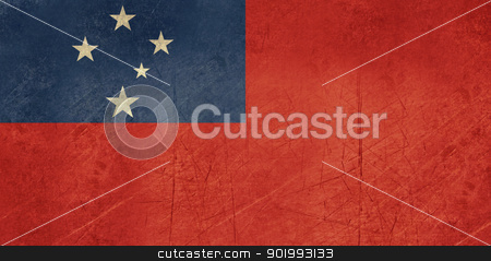Grunge Samoa Flag stock photo, Grunge sovereign state flag of country of Samoa in official colors.  by Martin Crowdy