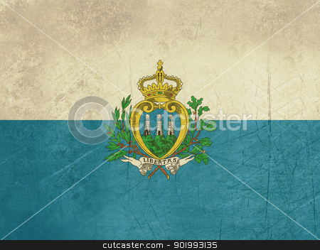 Grunge San Marino Flag stock photo, Grunge sovereign state flag of country of San Marino in official colors.  by Martin Crowdy