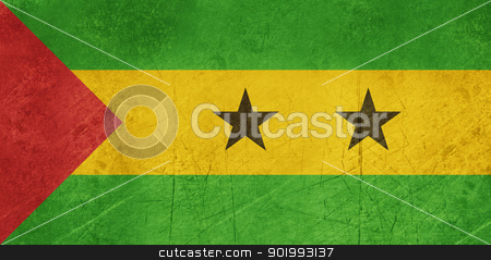 Grunge Sao Tome and Principe Flag stock photo, Grunge sovereign state flag of country of Sao Tome and Principe in official colors.  by Martin Crowdy