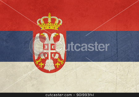 Grunge Serbia Flag stock photo, Grunge sovereign state flag of country of Serbia in official colors. by Martin Crowdy