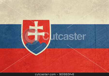 Grunge Slovakia Flag stock photo, Grunge sovereign state flag of country of Slovakia in official colors.  by Martin Crowdy