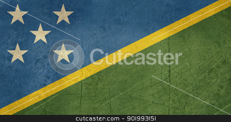 Grunge Solomon Islands flag stock photo, Grunge sovereign state flag of country of Solomn Islands in official colors. by Martin Crowdy