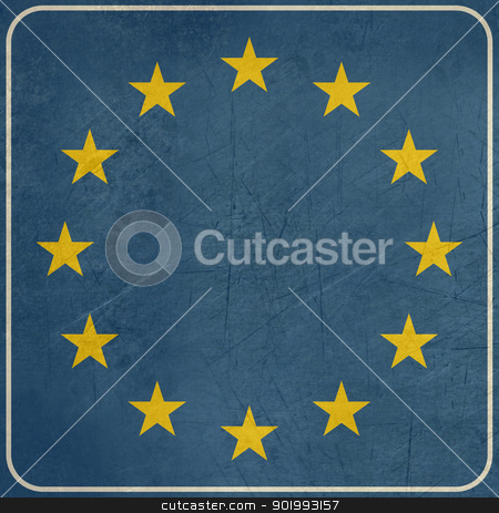 Grunge Spain or Spanish road sign stock photo, Grunge European button isolated on white background with copy space.  by Martin Crowdy