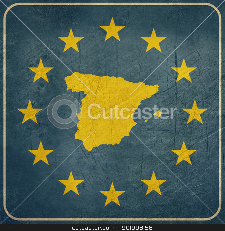 Grunge Spain road sign stock photo, Grunge Spain European button isolated on white background with copy space.  by Martin Crowdy