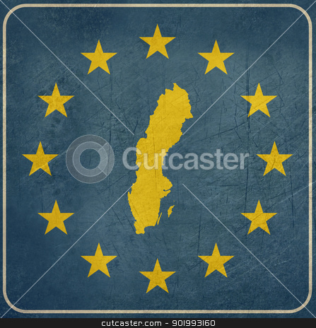 Grunge Sweden road sign stock photo, Grunge Sweden European button isolated on white background with copy space.  by Martin Crowdy