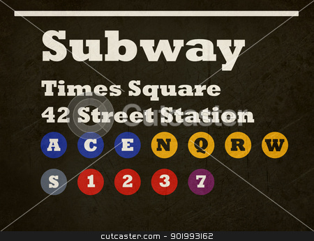 Grunge Times Square subway sign stock photo, Grunge New York Times Square subway train sign isolated on black background. by Martin Crowdy