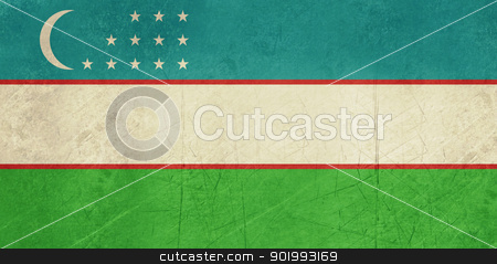 Grunge Uzbekistan Flag stock photo, Grunge sovereign state flag of country of Uzbekistan in official colors.  by Martin Crowdy