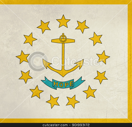 Grungr Rhode Island state flag stock photo, Grunge Rhode Island state flag of America, isolated on white background. by Martin Crowdy
