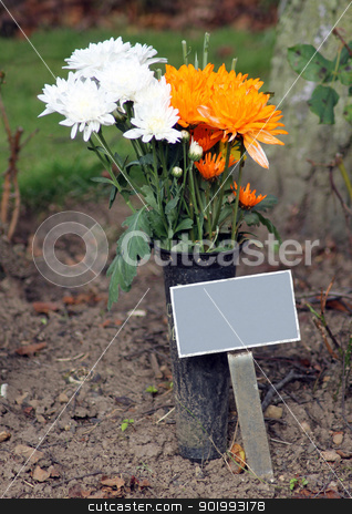 Memorial plaque and flowers in cemetery stock photo, Memorial plaque and flowers in cemetery with copy space. by Martin Crowdy