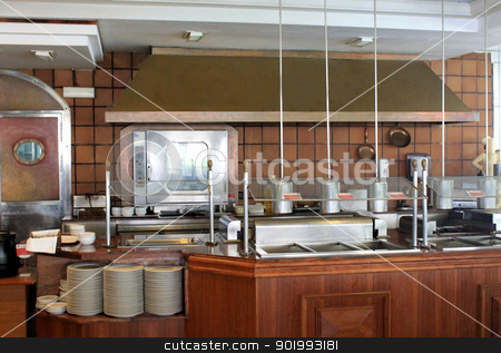 Modern commercial kitchen stock photo, Modern commercial kitchen in hotel, restaurant or business. by Martin Crowdy