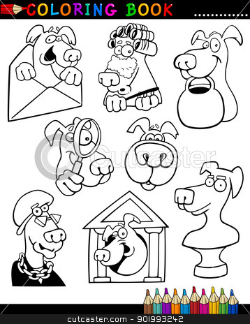 Cartoon Dogs for Coloring Book or Page stock vector clipart, Coloring Book or Page Cartoon Illustration of Funny Dogs and Puppies for Children by Igor Zakowski