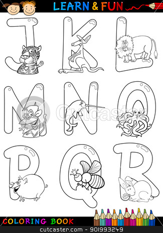 Cartoon Alphabet with Animals for coloring stock vector clipart, Cartoon Alphabet Coloring Book or Page Set with Funny Animals for Children Education and Fun by Igor Zakowski