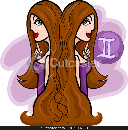 women cartoon illustration gemini sign stock vector clipart, Illustration of Beautiful Twins Women Cartoon Characters and Gemini Horoscope Zodiac Sign by Igor Zakowski