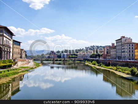 Arno stock photo, Beautiful view of Arno river, at Florence, Italy by Fabio Alcini