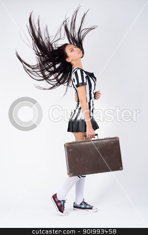 Sexy Soccer Referee stock photo, Beautiful Soccer Referee with old suitcase at white background by Aikon