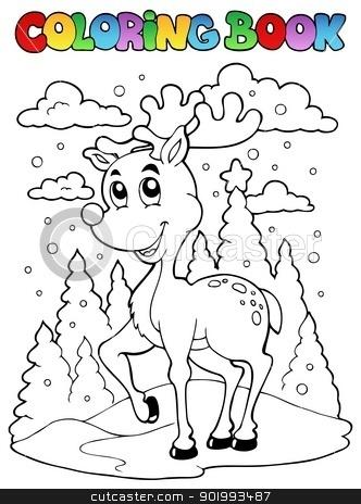 Coloring book reindeer theme 1 stock vector clipart, Coloring book reindeer theme 1 - vector illustration. by Klara Viskova