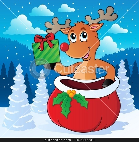 Reindeer theme image 7 stock vector clipart, Reindeer theme image 7 - vector illustration. by Klara Viskova