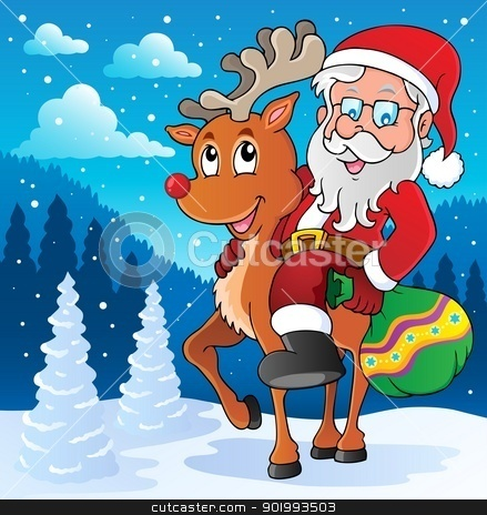 Santa Claus thematic image 2 stock vector clipart, Santa Claus thematic image 2 - vector illustration. by Klara Viskova