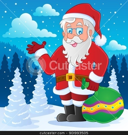 Santa Claus thematic image 4 stock vector clipart, Santa Claus thematic image 4 - vector illustration. by Klara Viskova