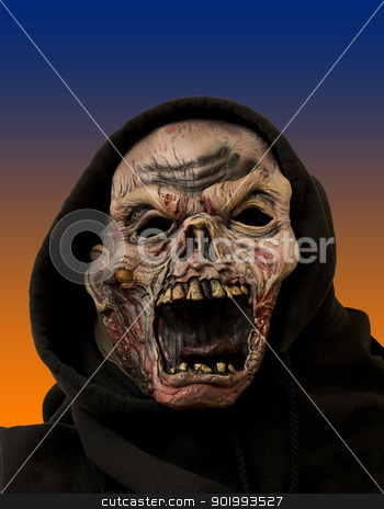monster portrait stock photo, portrait of a zombie in a black cloth hood by digitalreflections