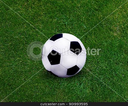 Football sport stock photo, Football sport, soccer ball on grassland. by Designsstock
