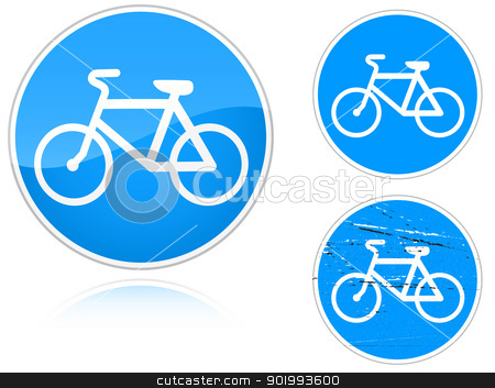 Variants a Bicycle path - road sign stock vector clipart, Set of variants a Bicycle path - road sign isolated on white background. Group of as fish-eye, simple and grunge icons for your design. Vector illustration. by Andrey Khritin